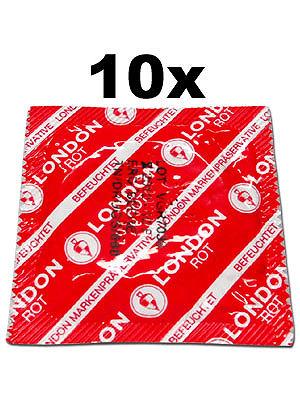 10 Stück London Kondome - Rot mit Erdbeeraroma