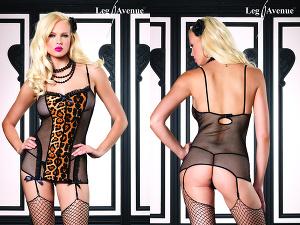 Leg Avenue - Netz Strapskleid Leopard 81280