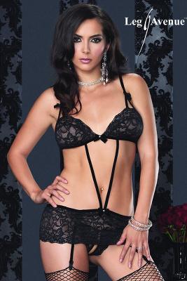 Leg Avenue - Riemchen-Strapskleid & offenem Panty schwarz 81314