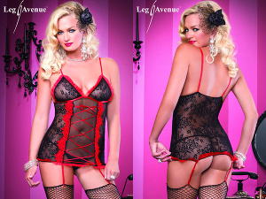 Leg Avenue - Strapskleid mit G-String schwarz/rot 86321