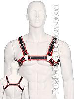 Bulldog Zipper Design Leder Harness - Schwarz/Rot