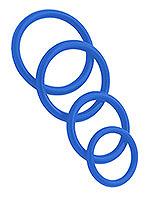 Penisringe aus Gummi 4er Set - Blau