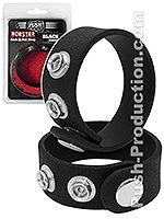 Push Monster - Black Rubber Cock & Ball Strap - B-Ware