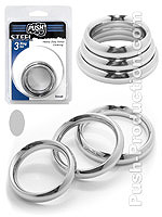 Push Steel - Heavy Duty Donut Cockring 3-Ring Set Small