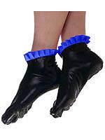 Schwarze Latex Socken mit blauen Rüschen