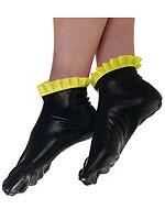 Schwarze Latex Socken mit gelben Rüschen