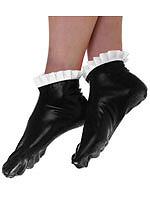 Schwarze Latex Socken mit weißen Rüschen